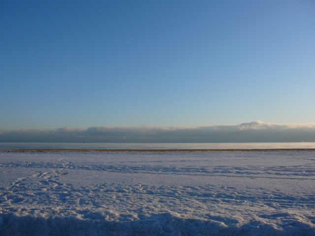 Snow, Lake Michigan, Clouds, Sky