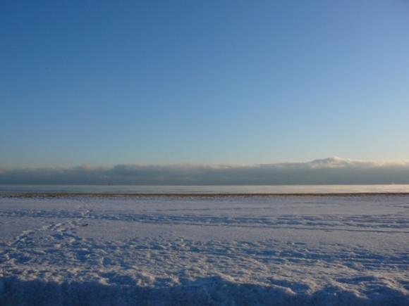 Snow, Lake Michigan, Clouds, Sky