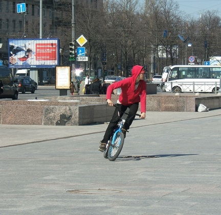 BMX bandits are alive and well in Petersburg: a cyclist in Moskovskaya Ploschad.