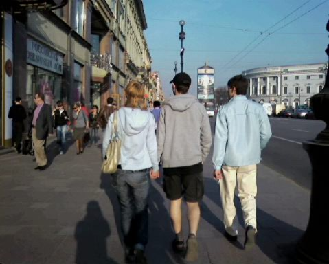 His and hers mullets on Nevsky -- though his was buried under the hooded sweatshirt.