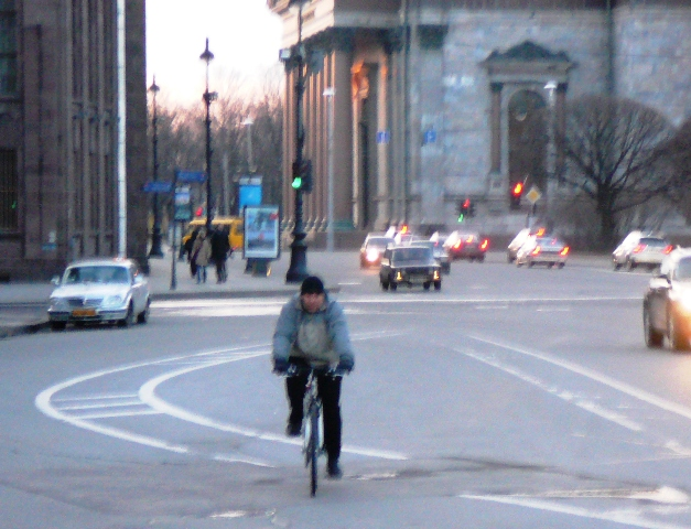 Rare sighting - a cyclist not on the sidewalk