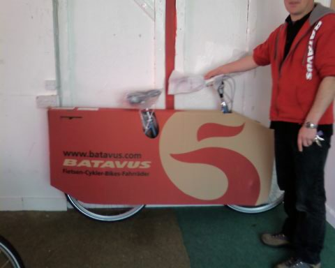 A Batavus packed for transport.