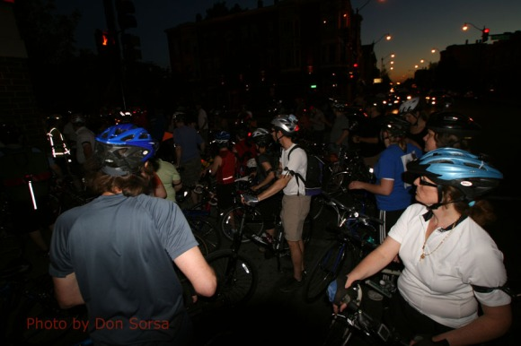 Part of the crowd of 150 riders