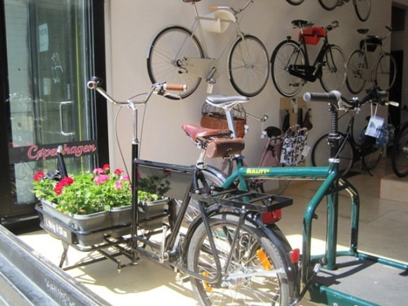Front display window with a Velorbis cargo bike.