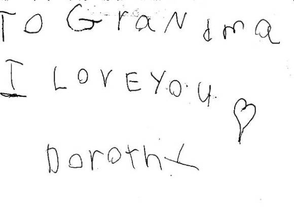 She saved this note from when I was 4!