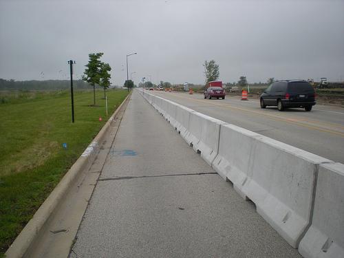 Makeshift bike lane - temporary detour from bike trail