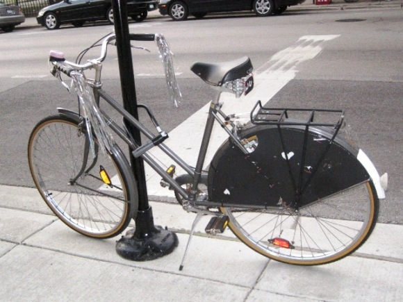 Fun Bike!  streamers and home-made skirt guard