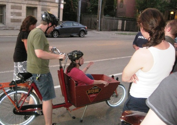 Bakfiets Test Ride - hmm, she looks nervous