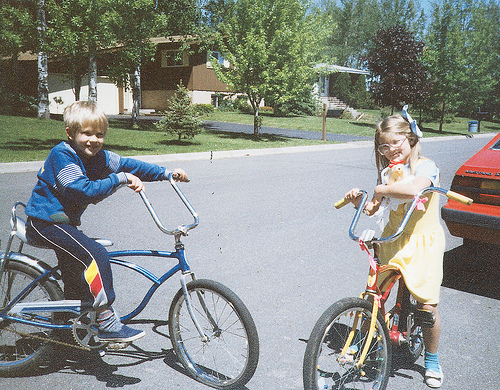 Charlie and me, with our bikes in 1987.