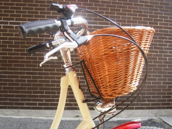 Wicker basket, rubber grips, ding dong bell