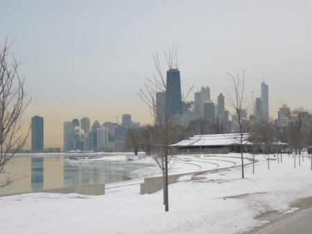 Chicago Lakefront Trail during my winter commute - me, myself and I