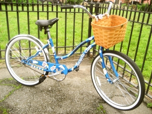 Pretty blue cruiser, basket not included.