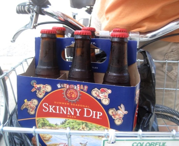 Beer!  In a bike basket!