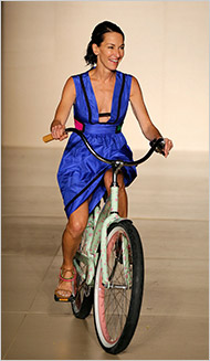 Cynthia Rowley rides a bike
