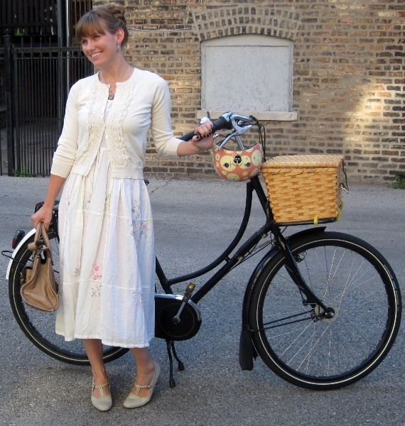 vintage handstitched dress, vintage shoes