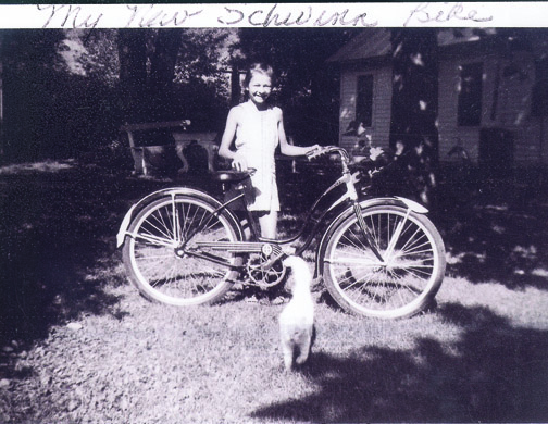 Grams and her new Schwinn bicycle (and cat!)