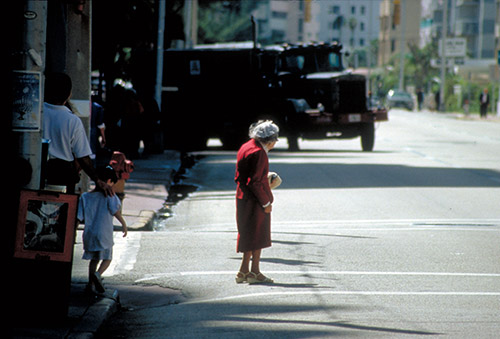 Senior Crossing Street in Miami Beach - PBIC Image Library
