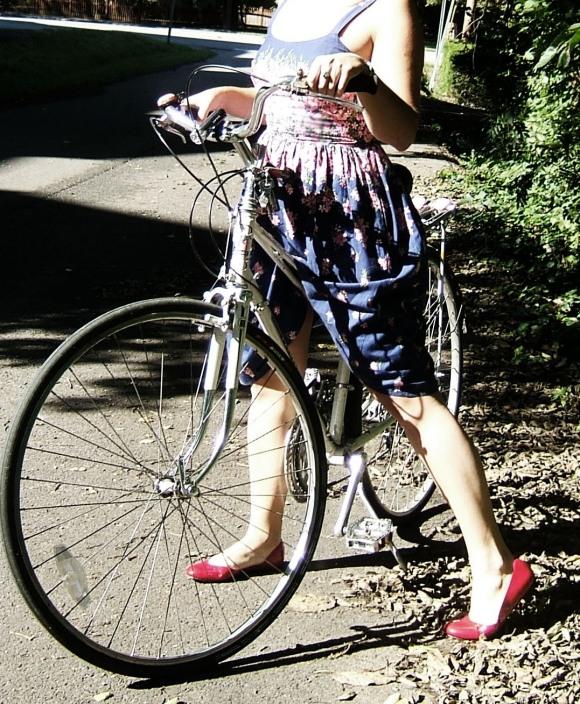 Vintage dress, vintage bike