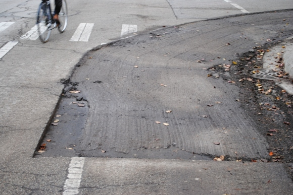 Inexplicable road gouge